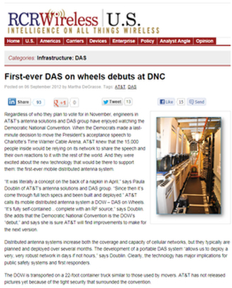 RCR Wireless DAS on Wheels article